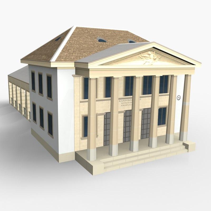 3D model historical police station rathaus