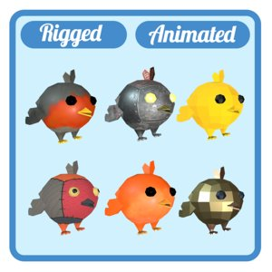 6 birds animations 3D model