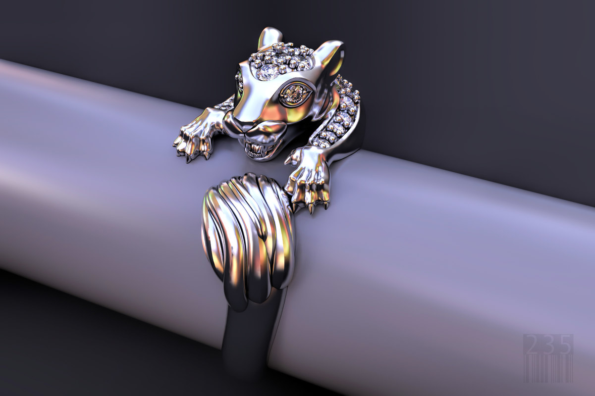cat family ring stones 3D model