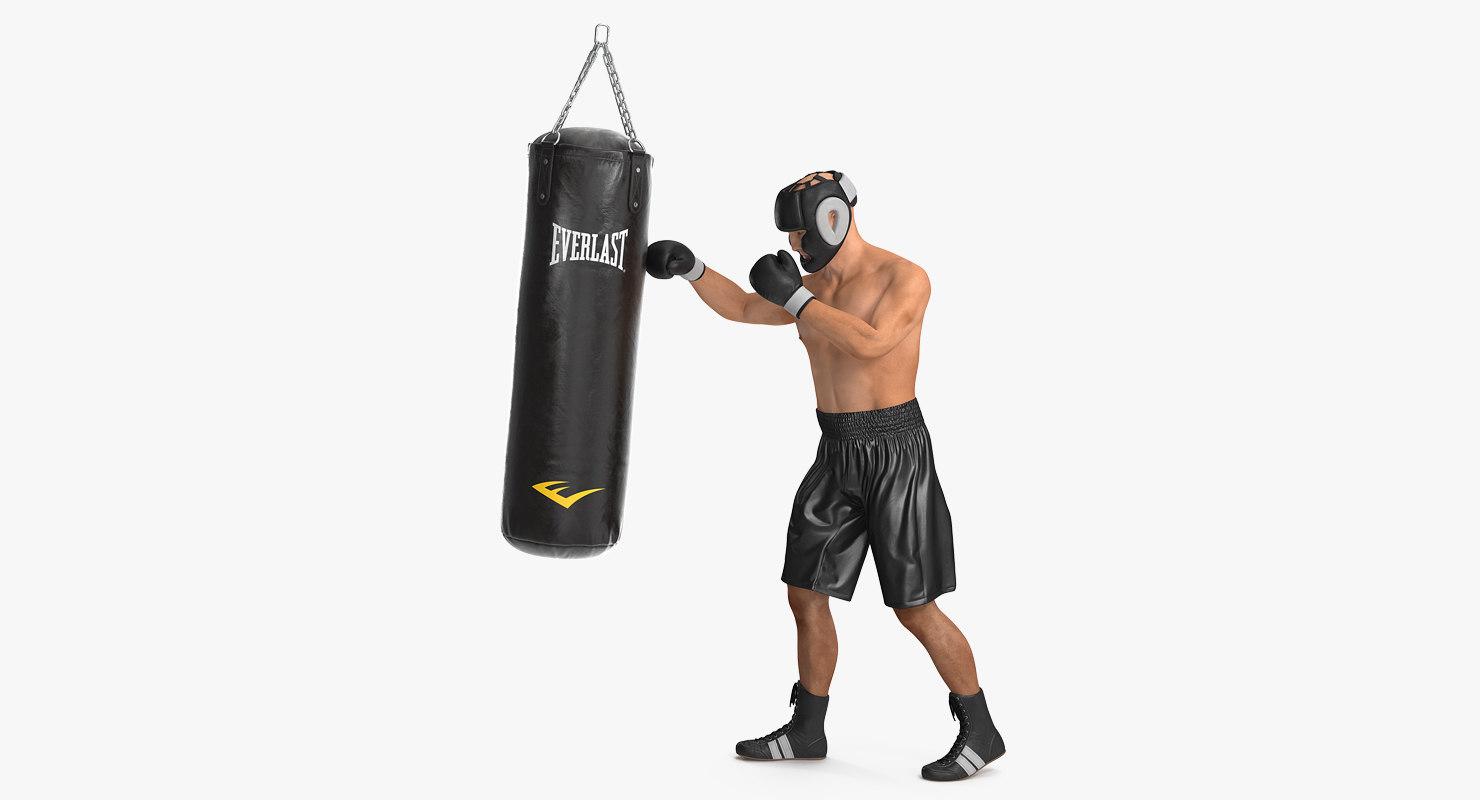 punching bag boxer rigged 3D model