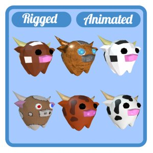 3D model 6 cows animations rig