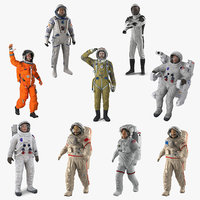 3D rigged astronauts 5 model