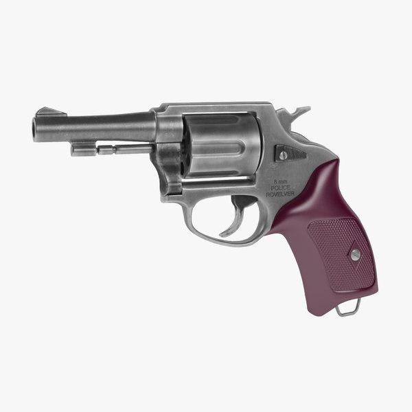 revolver police 8mm 3D model