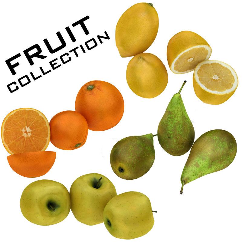 3D fruits lemon apple