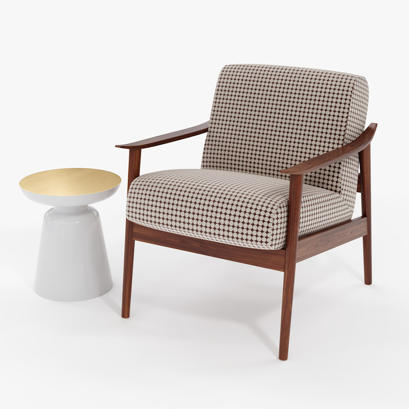 3D mid-century wood upholstered chair model