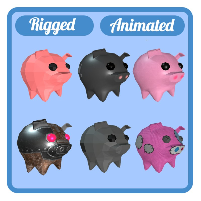3D 6 pigs animations rig