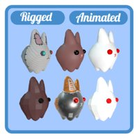 6 rabbits animations rig 3D