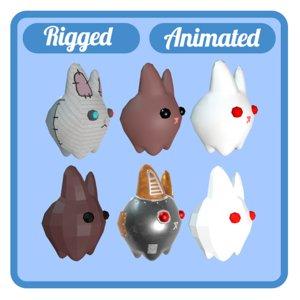 6 rabbits animations rig 3D