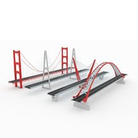 Suspended bridge pack collection Stylized low poly