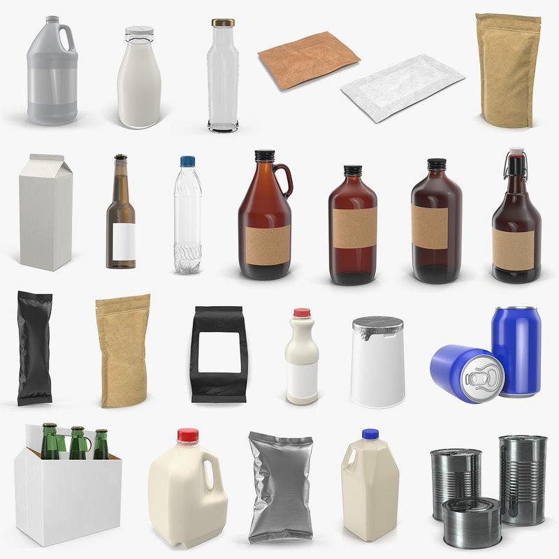 food packages bottles 2 3D model