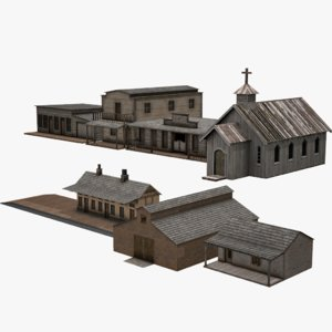3D western architecture pack building model