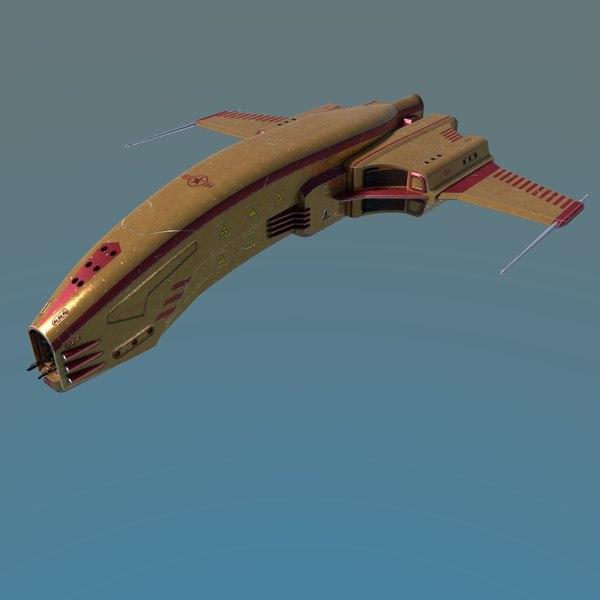 3D model spaceship dagger type 1