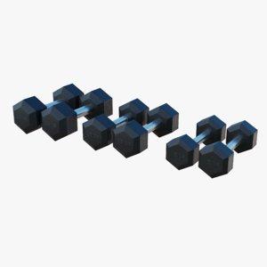 gym dumbbells - 3D model