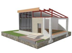 3D concrete frame construction house model