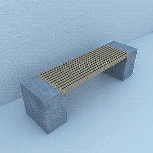 street bench modern 3D model