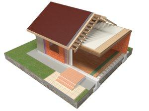 brick house construction 3D model