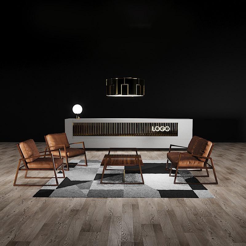 york lounge chair reception desk 3D model