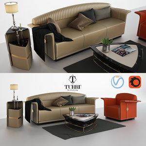 turri madison sofa armchair 3D model