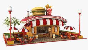 3D burger cartoon model