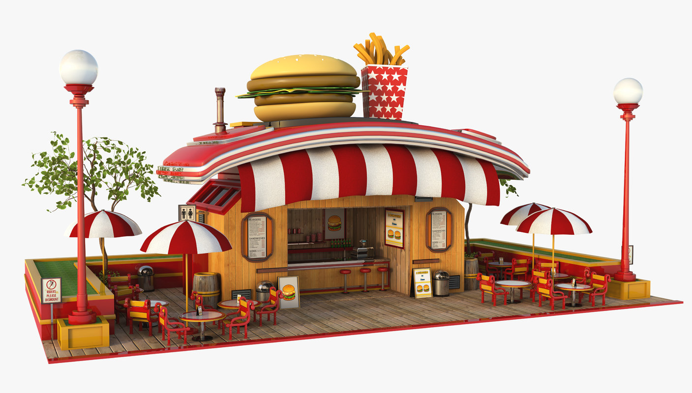 3D burger cartoon model
