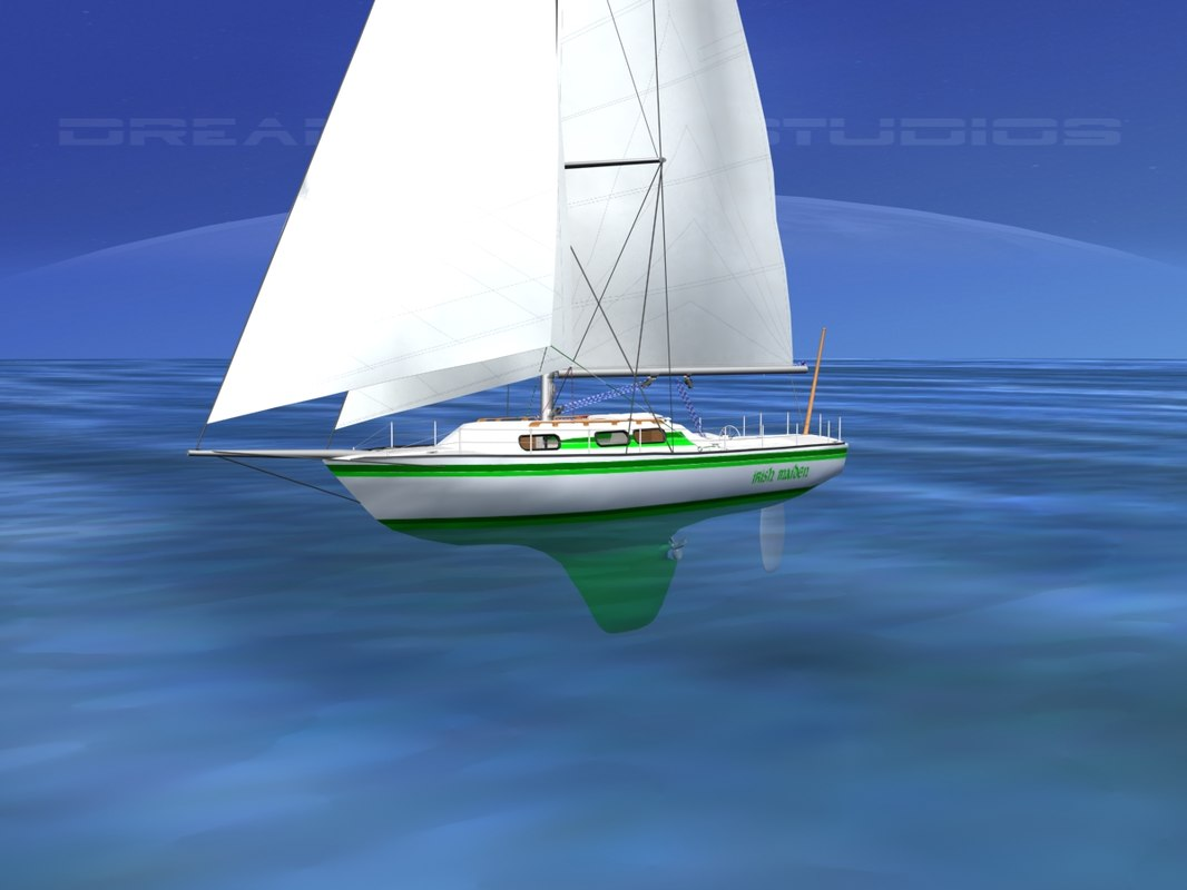 3D cutter rigged sailing sailboats model