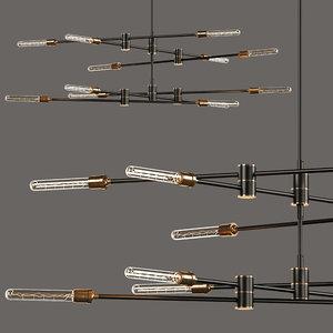 3 kinetic 2-tier chandelier model