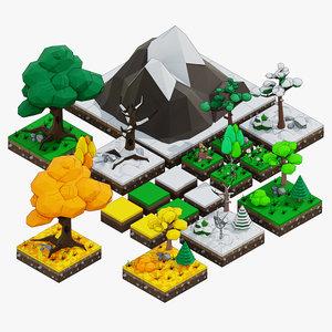 3D low-poly trees set