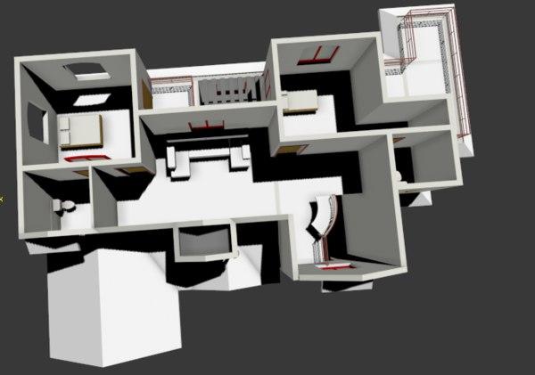 interiors plan 3D model