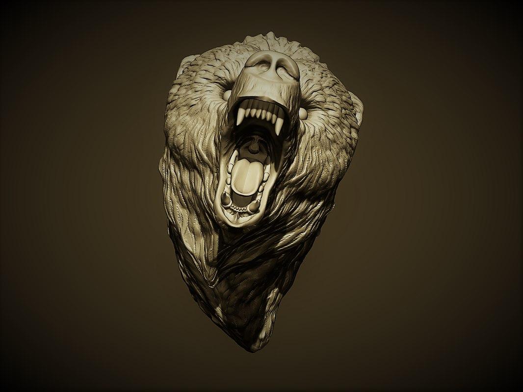 bear grizzly head 3D model
