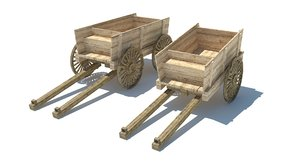 3D model wood wagon