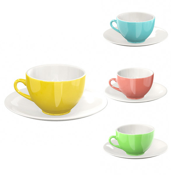 colorful mug set 3D