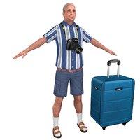 3D tourist man