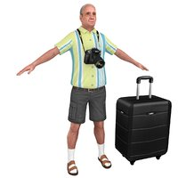 3D tourist man games model