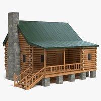 log cabin 3D model