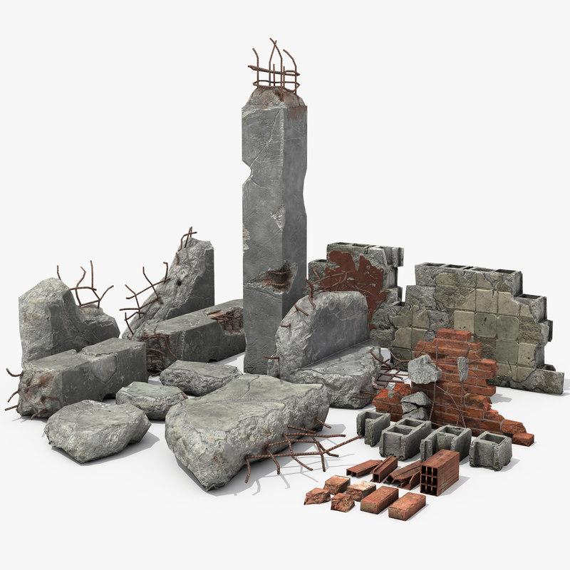 walls debris 3D model