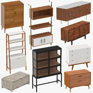 mid-century modern furniture 3D