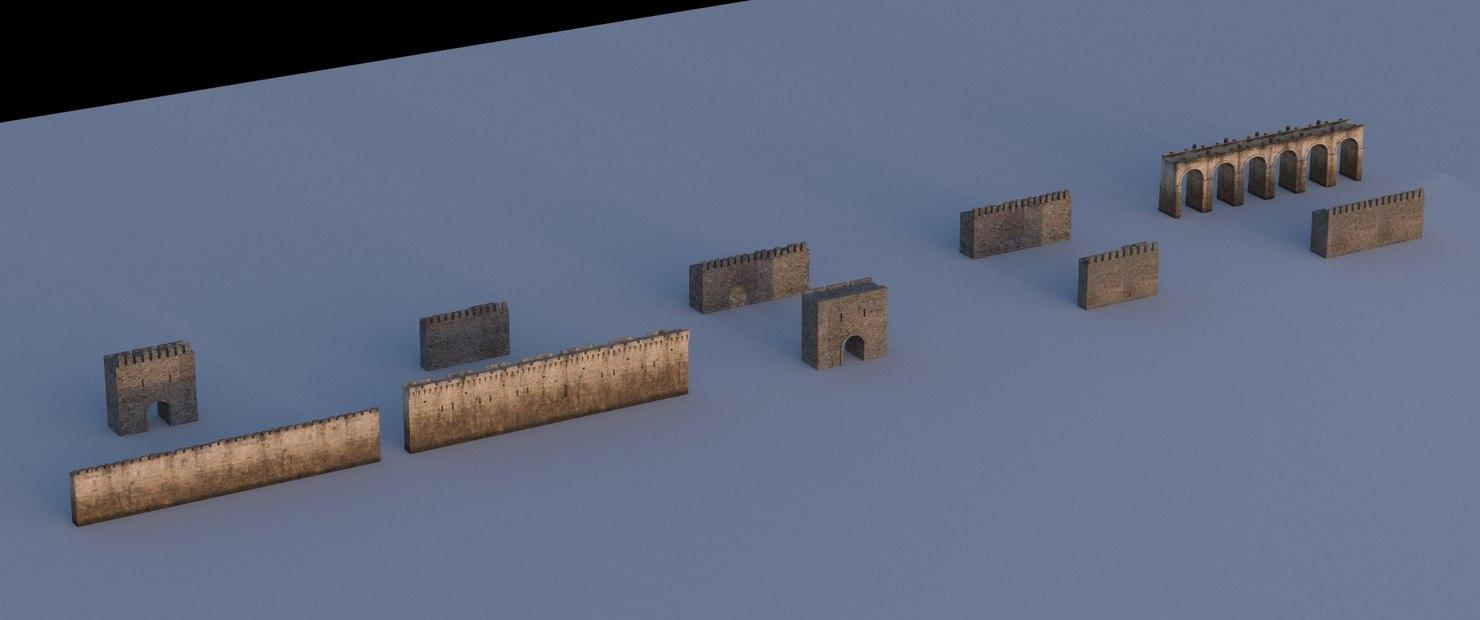 castle walls 3D