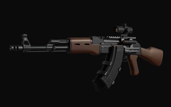 ak-47 assault rifle scope 3D