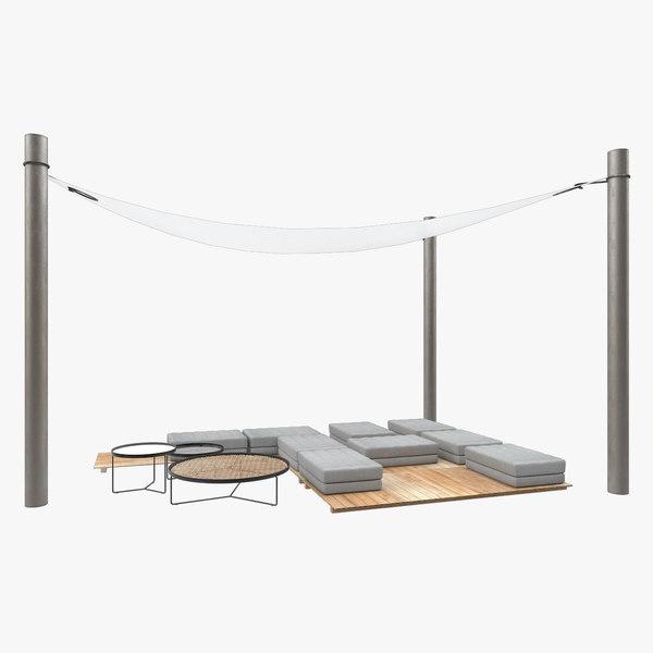 3D outdoor furniture set poufs model
