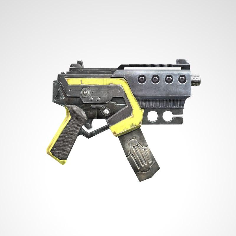 3D machine pistol ready games model