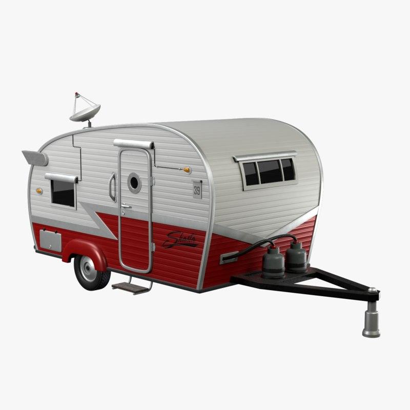 3D model trailer shasta red color