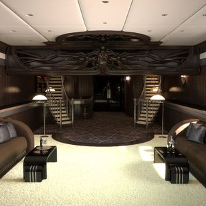 3D interior luxury yacht