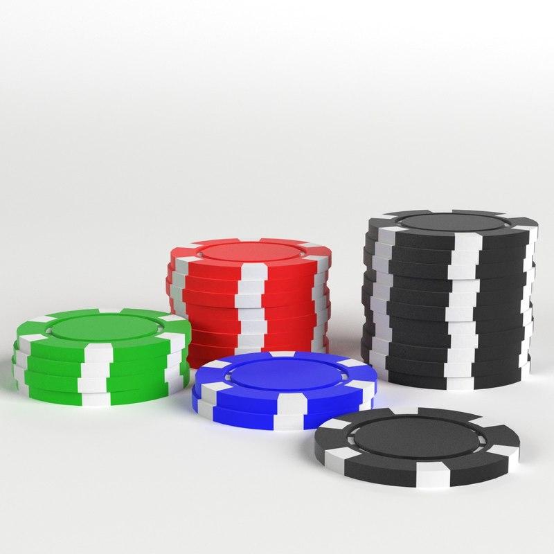 casino tokens stacks 3D