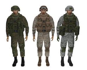 modern soldier equipment ratnik 3D model