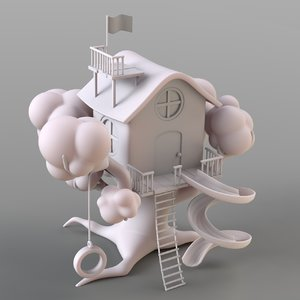 3D cartoon treehouse