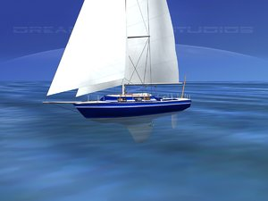 3D model cutter rigged sailing sailboats