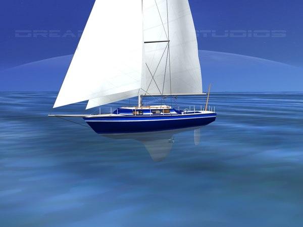 3D model cutter rigged sailing sailboats