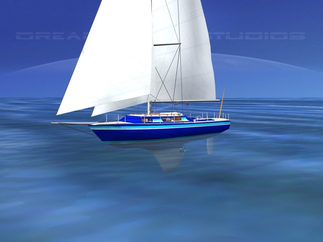 3D cutter rigged sailing sailboats