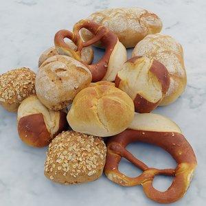 3D bread rolls model