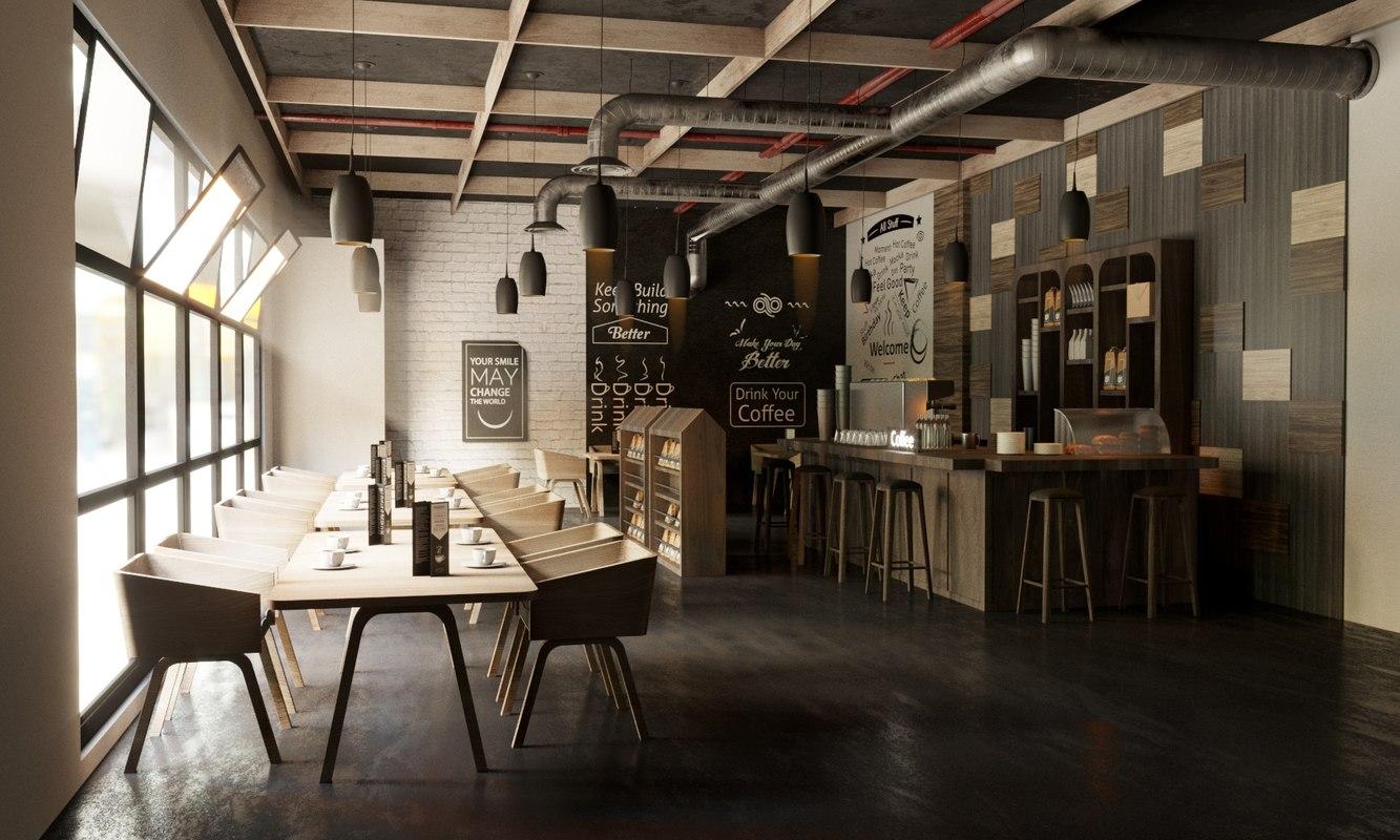 Wonderful 3D Model Coffee Interior Design Bar Restaurant